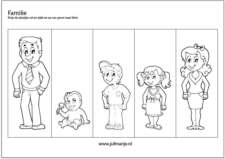 Werkblad familie van groot naar klein – Juf Marije